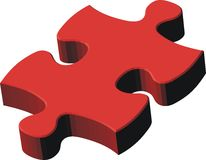 3d red puzzle piece Royalty Free Stock Photography