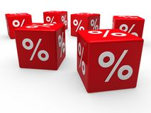 3d red sale cube percentage Royalty Free Stock Photos