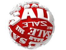 3D red sale sphere Stock Photos