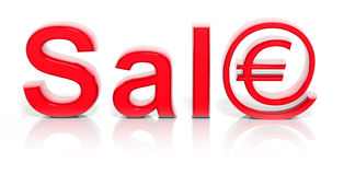 3D red sale text with web money Stock Photo