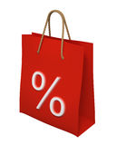 3d red Shopping bag with percent sign isolated Stock Images