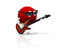 3D red smiley with guitar Royalty Free Stock Image