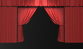 3d red stage curtain with spotlights Royalty Free Stock Photo