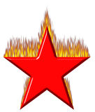 3D Red Star on Fire. Isolated in white Royalty Free Stock Photo