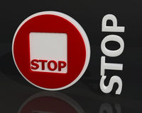 3D red stop sign. Word on dark background Royalty Free Stock Photo