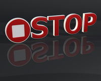3D red stop text. Sign on dark gray background Royalty Free Stock Image