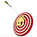 3d red target with house and arrow. On white background Royalty Free Stock Photos