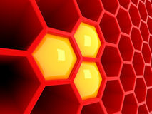 3d red tech honeycomb Royalty Free Stock Images