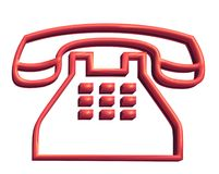 3D Red Telephone Royalty Free Stock Photos