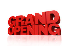 3D Red Text Grand Opening Stock Photography