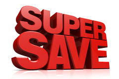 3D Red Text Super Save Stock Images