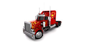 3D Red Truck Royalty Free Stock Photography