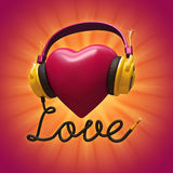 3d red Valentine heart with headphones Royalty Free Stock Photography