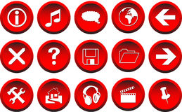 3D Red Vector Buttons. 3-D vector buttons useful for websites and web design Royalty Free Stock Photography