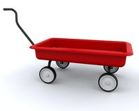 3D Red wagon. Isolated over a white background Royalty Free Stock Images