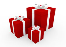 3d red white gift box Royalty Free Stock Images