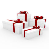 3d red white gift box. Isolated on white background Stock Photos