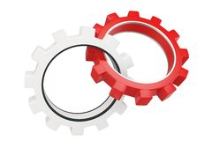 3d red and white metallic gears Royalty Free Stock Image