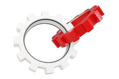 3d red and white metallic gears Royalty Free Stock Photography