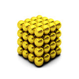 3d rednder of cube consists of  balls. 3d rednder of cube consists of golden balls Stock Photo