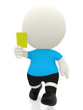 3D referee booking yellow card Stock Photo