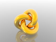 3d reflection object. One 3d reflection object (gold Royalty Free Stock Images