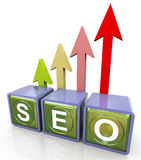 3d relfective seo text Stock Photography