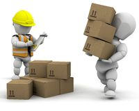3d removal men. Handling materials - isolated Royalty Free Stock Photos
