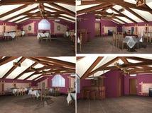 3D rendant l'intérieur classique du restaurant Photo libre de droits