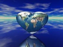 3D rendem da terra dada forma coração do planeta Fotos de Stock Royalty Free