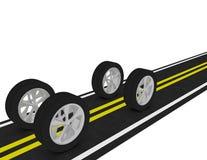 3d rendem de 4 pneus em uma estrada Imagens de Stock