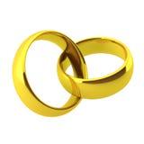 3d rendem de dois anéis de casamento dourado ilustração stock