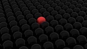 3d rendem de esferas pretas e de um vermelho ilustração stock