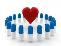 3d rendem do coração dentro do círculo dos comprimidos ilustração do vetor