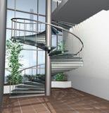 3D rendem do interior moderno do edifício de casa Fotografia de Stock Royalty Free