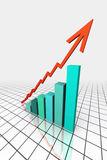 3d rendem o gráfico de negócio com ir acima seta Fotografia de Stock