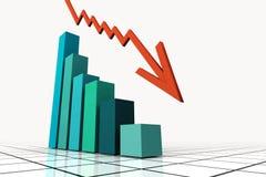 3d rendem o gráfico de negócio com ir acima seta Fotos de Stock Royalty Free
