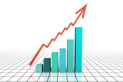 3d rendem o gráfico de negócio com ir acima seta Fotografia de Stock Royalty Free
