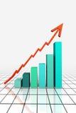 3d rendem o gráfico de negócio com seta Imagem de Stock
