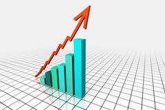 3d rendem o gráfico de negócio com seta Fotografia de Stock Royalty Free