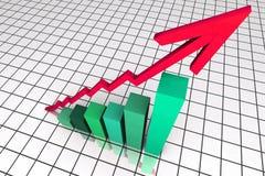 3d rendem o gráfico de negócio com seta Fotos de Stock