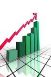 3d rendem o gráfico de negócio com seta Foto de Stock Royalty Free