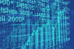 3d rendem o gráfico do mercado de valores de acção com ir acima seta Imagens de Stock Royalty Free