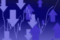 3d rendem o gráfico do mercado de valores de acção com setas Foto de Stock