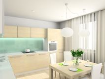 3D rendem o interior moderno da cozinha Fotos de Stock Royalty Free