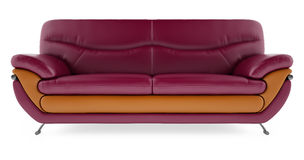 3D rendem o sofá roxo em um fundo branco Imagens de Stock