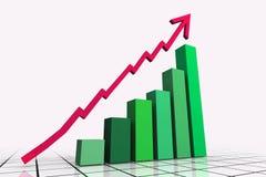 3d rendem a seta do gráfico de negócio Fotos de Stock
