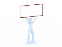 3D rendent d'un homme retenant un signe blanc Image libre de droits