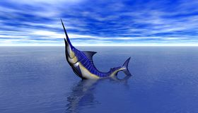 3D rendent d'une attaque de requin Image libre de droits