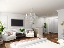 3D rendent l'intérieur moderne de la chambre à coucher Photo stock